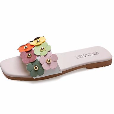 voordelige Damespantoffels & slippers-Dames Slippers & Flip-Flops Platte hak Satijnen bloem PU Informeel Zomer Beige