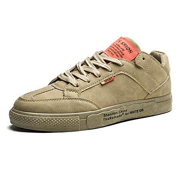 Erkek Ayakkabı PU Sonbahar Günlük Spor Ayakkabısı Günlük için Siyah / Beyaz / Haki