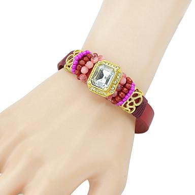 abordables Bracelet-Bracelets en cuir Femme Géométrique Poire Elégant Bohème Bracelet Bijoux Noir Rouge Bleu pour Quotidien