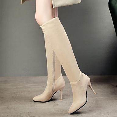 Kadın's Çizmeler Stiletto Topuk Sivri Uçlu Süet Diz Boyu Çizmeler Sonbahar Kış Siyah / Bej