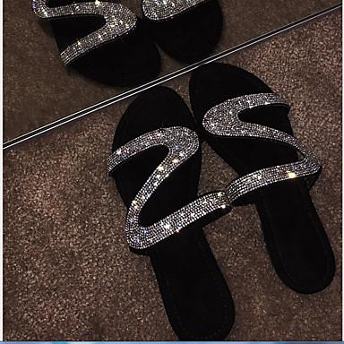 abordables Zapatos de Mujer-Mujer Sandalias Tacón Plano Dedo redondo Pedrería PU Verano Negro