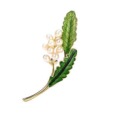 Žene Broševi Klasičan Leaf Shape Cvijet Luksuz pomodan Elegantno Šarene Biseri Imitacija dijamanta Broš Jewelry Zlato Za Vjenčanje Angažman Dar Rad Obećanje