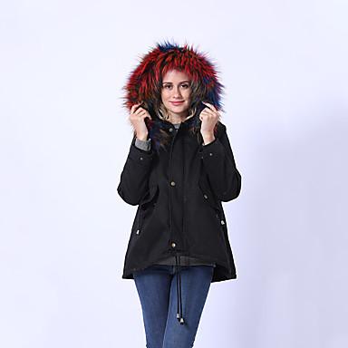 voordelige Nieuwe collectie-Dames uitgaan basic herfst & winter normale jas, effen / camo / camouflage capuchon lange mouw nylon bont trim zwart / wit / regenboog / los