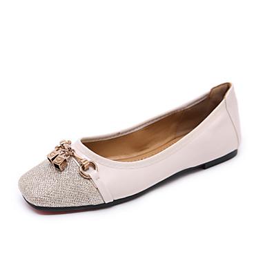 Kadın's Düz Ayakkabılar Düz Taban Dörtgen Uçlu Boncuklama / Toka Suni Deri Tatlı / Minimalizm İlkbahar & Kış Siyah / Badem / Kahverengi / Zıt Renkli
