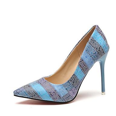 Kadın's Sandaletler Stiletto Topuk Sivri Uçlu PU Yaz Turuncu / Mavi