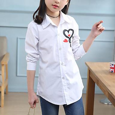 baratos Blusas para Meninas-Infantil Para Meninas Activo Moda de Rua Estampado Estampado Manga Longa Camisa Branco