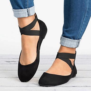 voordelige Nieuwe collectie-Dames Platte schoenen Platte hak Ronde Teen Microvezel Zomer Zwart / Luipaard / Goud