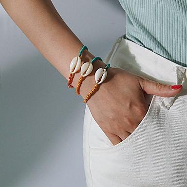 billige Motearmbånd-3pcs Dame Perlearmbånd Armbånd Klassisk Skall trendy Etnisk Skall Armbånd Smykker Gull Til Gave Daglig Skole Ferie Arbeid