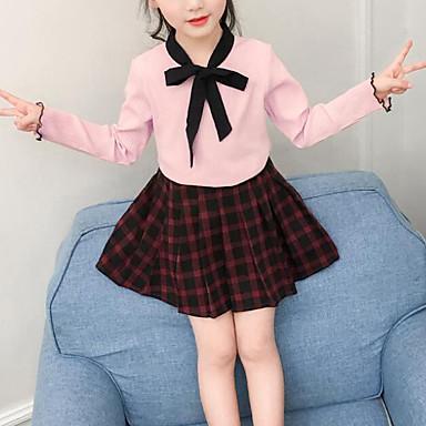baratos Conjuntos para Meninas-Infantil Para Meninas Activo Moda de Rua Para Noite Casual Xadrez Retalhos Pregueado Patchwork Manga Longa Padrão Conjunto Rosa