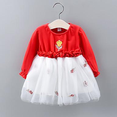 Недорогие Платья для малышей-малыш Девочки Классический Цветочный принт Рюши / Сетка Длинный рукав Выше колена Платье Розовый