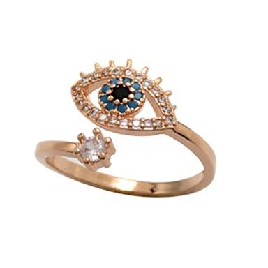 voordelige Dames Sieraden-Dames Ring 1pc Goud Rose Koper Cirkelvormig Standaard Koreaans Modieus Festival Sieraden Kwaad oog Cool