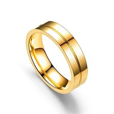 billige Motering-Par Band Ring / Ring / Tail Ring 1pc Rose Gull / Gull Rustfritt Stål Sirkelformet Vintage / Grunnleggende / Mote Gave Kostyme smykker