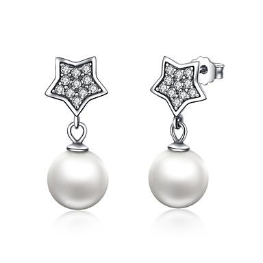 otantik 925 ayar gümüş yıldız& Kadınlar için simüle İnci damla küpe düğün güzel takı sce004