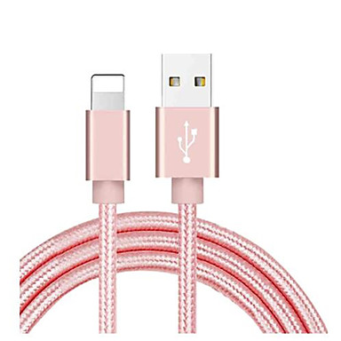 billige 24/5000 iPhone-kabel og ladere-lynkabel 1.0m (3ft) flettet / høyhastighets / hurtigladning nylon usb-kabeladapter for ipad / iphone