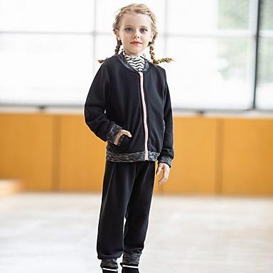 hesapli Kız Çocuk Kıyafet Setleri-Çocuklar Genç Kız Temel Solid Uzun Kollu Kıyafet Seti Siyah