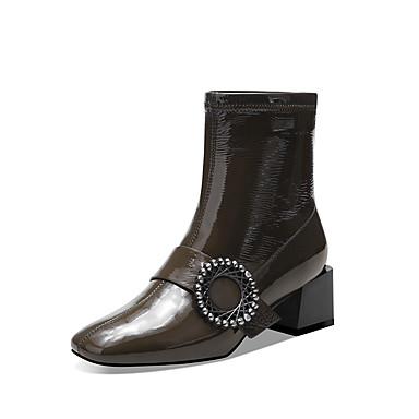 voordelige Dameslaarzen-Dames Laarzen Blokhak Vierkante Teen Lakleer Winter Zwart / Leger Groen
