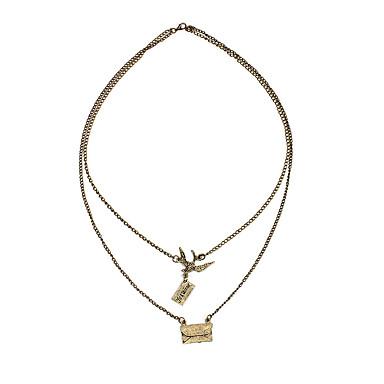 Χαμηλού Κόστους Μοδάτο Κολιέ-Γυναικεία Κρεμαστά Κολιέ Κλασσικό Χρώμιο Καφέ 60+70 cm Κολιέ Κοσμήματα 1pc Για Καθημερινά