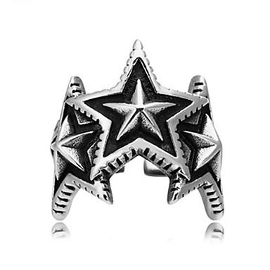 Недорогие Модные кольца-Муж. Кольцо 1шт Серебряный Титановая сталь Круглый Винтаж / Классический / Мода Повседневные Бижутерия / Звезда