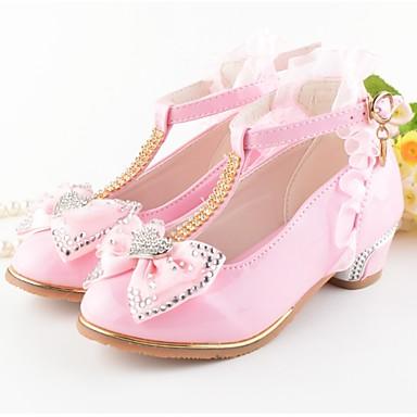 baratos Novidades-Para Meninas Couro Ecológico Saltos Little Kids (4-7 anos) Sapatos para Daminhas de Honra Laço Branco / Rosa claro Verão