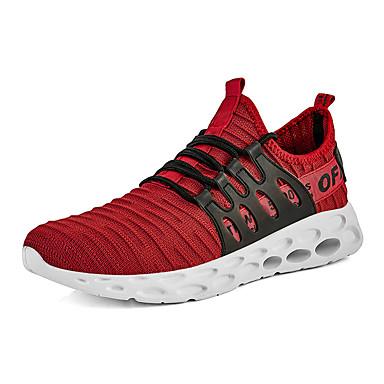 Erkek Ayakkabı PU Yaz Atletik Ayakkabılar Yürüyüş Dış mekan için Siyah / Ordu Yeşili / Kırmzı