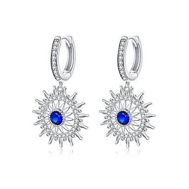 baratos Bijuteria de Mulher-Brincos de gota de crisântemo para as mulheres pedra azul flor radiante dangle brinco de noivado casamento jóias de luxo
