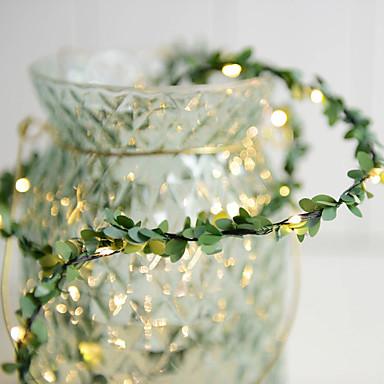 Yapay yaprakları ile 3 m rattan dize ışıkları 30 leds sıcak beyaz parti dekorasyon aa piller powered 1 adet