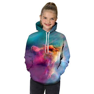 baratos Moletons Para Meninas-Infantil Bébé Para Meninas Activo Básico Gato Geométrica Galáxia Arco-Íris Estampado Manga Longa Moleton & Blusa de Frio Arco-íris