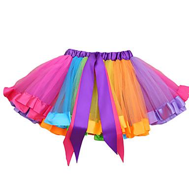 baratos Saias para Meninas-Infantil Para Meninas Básico Estampa Colorida Saia Arco-íris
