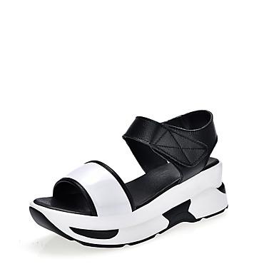 Kadın's Sandaletler Creepers Açık Uçlu Suni Deri Günlük Yürüyüş Yaz Siyah / Beyaz / Gümüş
