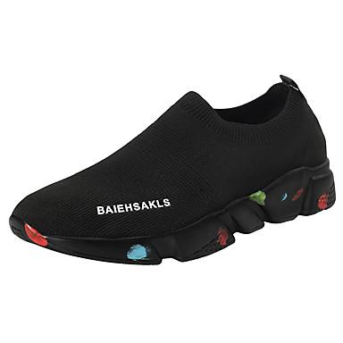 Erkek Ayakkabı Elastik Kumaş Sonbahar Sportif Atletik Ayakkabılar Günlük için Siyah / Siyah ve Beyaz