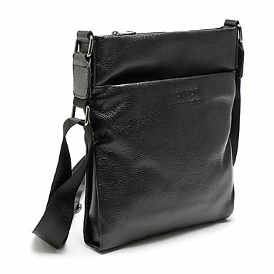 お買い得  バッグ-男性用 ジッパー 牛革 ブリーフケース 純色 ブラック