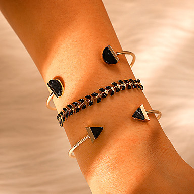abordables Bracelet-3pcs Bracelet Jonc Femme Géométrique Précieux Mode Bracelet Bijoux Dorée pour Quotidien