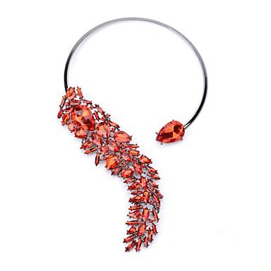 billige Mote Halskjede-Dame Kubisk Zirkonium Halskjede geometriske Blomst Mote Chrome Rød Blå Regnbue 49 cm Halskjeder Smykker 1pc Til Bryllup Skoleball