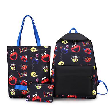 저렴한 가방-남여 공용 지퍼 캔버스 가방 세트 캐릭터 3 개 지갑 세트 블랙 / 화이트 / 푸른