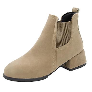 voordelige Dameslaarzen-Dames Laarzen Blokhak Ronde Teen PU Korte laarsjes / Enkellaarsjes Herfst Zwart / Khaki