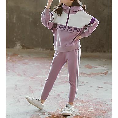 hesapli Kız Çocuk Kıyafet Setleri-Çocuklar Genç Kız Temel Çizgili Uzun Kollu Kıyafet Seti Siyah