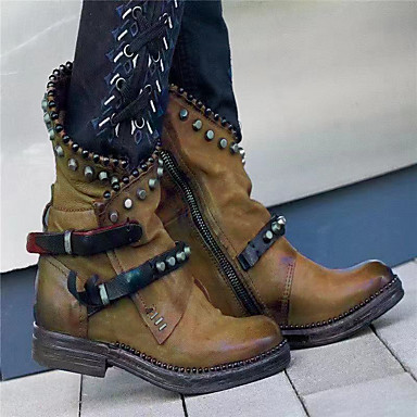 povoljno Ženske čizme-Žene Čizme Blok pete Okrugli Toe PU Čizme do pola lista Jesen zima Crn / purpurna boja / Zelen