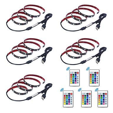 billige LED Strip Lamper-1m Fleksible LED-lysstriper / RGB-lysstriper / Fjernkontroller 30 LED SMD5050 1 24Kjør fjernkontrollen Multifarget Vanntett / USB / Fest 5 V 5pcs