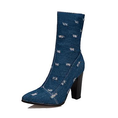 voordelige Dameslaarzen-Dames Laarzen Blokhak Gepuntte Teen Denim Kuitlaarzen Klassiek Herfst winter Zwart / Lichtblauw / Donkerblauw