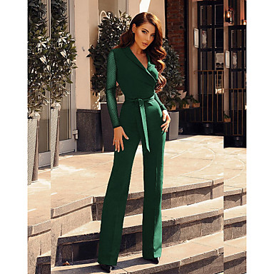 cheap New Arrivals-Women's Black Wine Green Jumpsuit, Solid Colored S M L