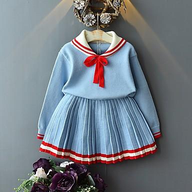 levne Sady oblečení-Děti Dívčí Základní Jednobarevné Dlouhý rukáv Sady oblečení Světle modrá