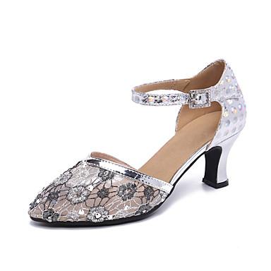 baratos Shall We® Sapatos de Dança-Mulheres Sapatos de Dança Couro Ecológico / Sintéticos Sapatos de Dança Moderna Flor Salto Salto Cubano Personalizável Prata