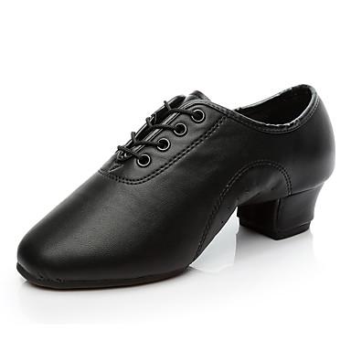 baratos Sapatos de Samba-Para Meninos / Para Meninas Sapatos de Dança Couro Sintético Sapatos de Dança Moderna / Sapatos de Salsa / Sapatos de Samba Oxford / Salto Salto Grosso Personalizável Preto