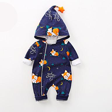 halpa Vauvojen vaatteet Pojat-Vauva Poikien Katutyyli Painettu Pitkähihainen Yksiosaiset Vaalean sininen