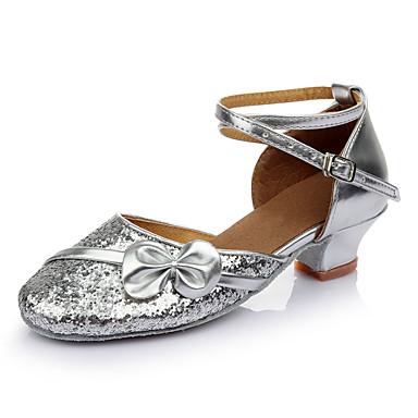 baratos Sapatos de Salsa-Mulheres Sapatos de Dança Couro Sintético Sapatos de Dança Moderna / Sapatos de Salsa / Sapatos de Samba Laço / Purpurina / Lantejoula Salto Salto Grosso Personalizável Dourado / Prateado