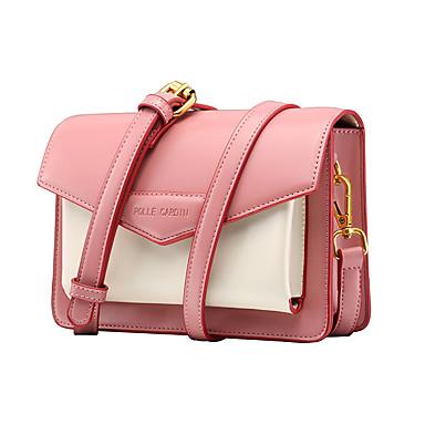 お買い得  バッグ-女性用 マイクロファイバー クロスボディーバッグ カラーブロック スカイブルー / ピンク / オレンジ
