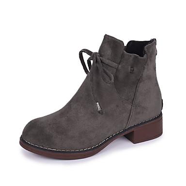 voordelige Dameslaarzen-Dames Laarzen Blokhak Ronde Teen Satijn Kuitlaarzen Zoet / minimalisme Herfst winter Zwart / Khaki