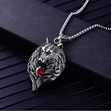 voordelige Herensieraden-Heren Kubieke Zirkonia Hangertjes ketting meetkundig Wolf Modieus Titanium Staal Zilver 60 cm Kettingen Sieraden 1pc Voor Dagelijks Carnaval