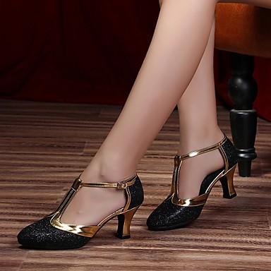 billige Ballroom-sko og moderne dansesko-Dame Dansesko Lær Moderne sko Høye hæler Tykk hæl Kan spesialtilpasses Svart / Sølvgrå / Lilla