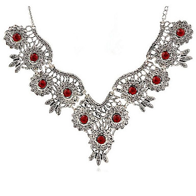 billige Mote Halskjede-Dame Halskjede geometriske Blomst Vintage Zirkonium Chrome Sølv 45+5 cm Halskjeder Smykker 1pc Til Daglig